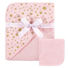 Hudson Baby Hooded Towel and  Washcloths Pink & Gold Stars