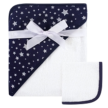 Hudson Baby Hooded Towel and  Washcloths Navy and Silver Stars