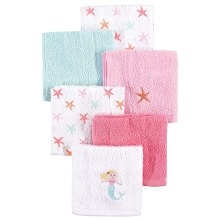Luvable Friends Washcloth 6-Pack Girl Mermaid