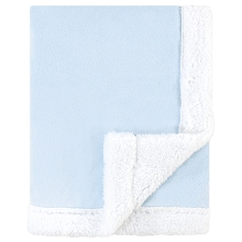 Hudson Baby Plush Blanket with Sherpa Binding and Back Light Blue-White