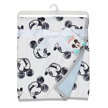 Lambs & Ivy Disney Baby MICKEY MOUSE Baby Blanket - Blue/White Minky/Jersey