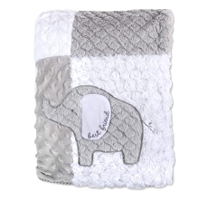 Wendy Bellissimo Patchwork Elephant Plush Love Blanket White and Grey