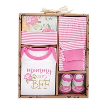 Baby Essentials Mommy My BFF 4 Pieces Gift Box Layette Set, 0-6 Months Girl