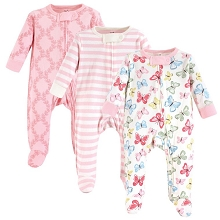 Touched By Nature Girl Organic Cotton Sleep and Play 3-Pack, 6-9 Months, Butterflies