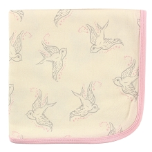 Touched By Nature Boy Organic Cotton Receiving/Swaddle Blanket, Bird