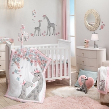 Lambs & Ivy Giraffe and Half Pink/Grey Bedding Crib Set 4-Pieces