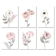 Lambs & Ivy Watercolor Floral Unframe Wall Art Pink-Gray