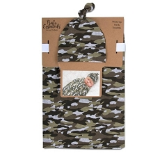 Baby Essentials Camo Swaddle Blanket with Cap, Boy