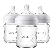 Avent Natural Glass Bottle 4oz, 3 Pack