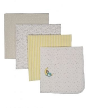 Precious Moment Sleepy Baby Flannel Receiving Blankets 4 Pack - Yellow