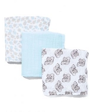 Precious Moment Love You Tons Muslin Blanket 3 Pack - Blue