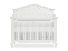 Evolur Aurora Deluxe Convertible Crib 5-in-1 Curved, Frost White