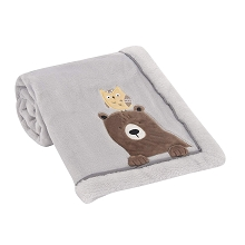 Lambs & Ivy  Sierra Sky Grey Bear/Owl Soft Fleece Baby Blanket