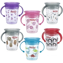 Nuby No Spill 360o Wonder Cup Trainer Sipeez 8oz, 6m+