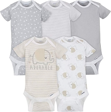 Gerber 5 Pack Onesies® Neutral-Grey Elephant 0-3 Months