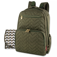 Fisher Price Morgan Quilted Diaper Bag Backpack in Olive Green
