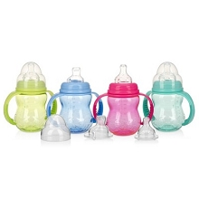 Nuby 3 Stage Wide Neck Bottle to Cup 11oz, 3 Months