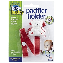 Baby Buddy Bear Pacifier Holder Red