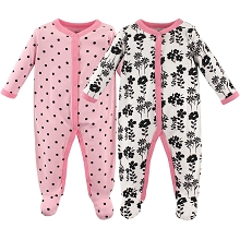 Luvable Friends Flowers & Dots Sleep n Play 2 Pack, 6-9 Months