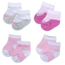 Baby Essentials 4 Pack Sock Set  Princess 3-9 Months