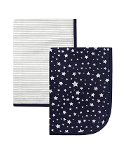 Hudson Baby Boy Swaddle Blanket, 2-Pack, Silver Star