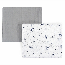 Hudson Yoga Sprout Muslin Swaddle Blanket, 2-Pack, Moon
