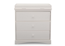 Delta Children Sutton 3 Drawer Dresser with Changer Top in White