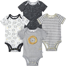 Just Born® Lion 4 Pack Bodysuit Boy 0-3 Months
