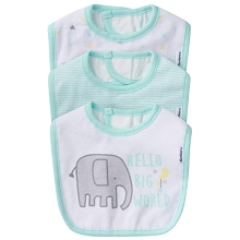 Gerber 3 Pack Terry Neutral Bib, Elephant