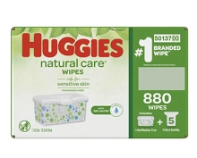 Huggies Natural Care Fragrance-Free Baby Wipes Refill 880 CT