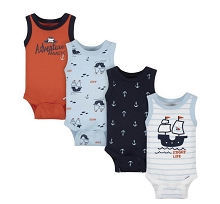 Gerber Pirate Tank Onesies 4 Pack, Newborn