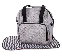 Baby Essentials Emerson Quilted Signature Wide Opening Diaper Backpack  Grey