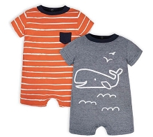 Gerber Whale Rompers 2 Pack, 0-3 Months
