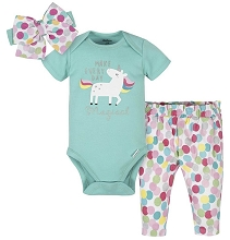Gerber Unicorn Girl Bodysuit Pant Set 3 Pieces, Newborn