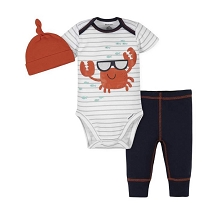 Gerber Crab Boys Bodysuit Pant Set 3-Pieces, 3-6 Months