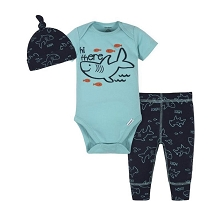 Gerber Shark Boys Bodysuit Pant Set 3-Pieces, 3-6 Months