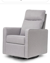 Da Vinci Gabby Pillow Back Swivel Glider in Misty Grey