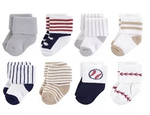 Little Treasure 8-Pieces Baseball Terry Socks 6-12 Months