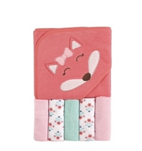 Luvable Friends  Girl Hooded Towel with Washcloths, 6-Piece Set, Girl Fox