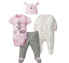 Gerber Girl Bunny Take Me Home Set 4 Pieces, 0-3 Months