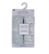 Rose Textile Muslin Swaddle Blanket 2 Pack, Blue Made With Love