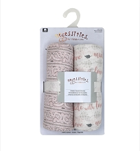 Rose Textile Muslin Swaddle Blanket 2 Pack, Pink Made With Love