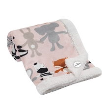 Lambs & Ivy Pink Velour Elephant & Animals Baby Blanket with Sherpa Back
