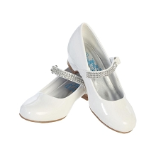 Lito Children Mia Rhinestone Strap Dress Shoes Shiny White