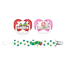 Dr Brown's Eric Carle Advance Pacifier with Clip Holder Stage 1, 0-6 Months, Butterfly & Flower 2 Pack