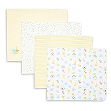 Spasilk Flannel Receiving Blanket 4-Pack Yellow