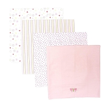 Spasilk Flannel Receiving Blanket 4-Pack Pink