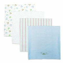 Spasilk Flannel Receiving Blanket 4-Pack Blue