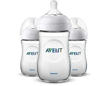 Avent Natural Bottle Clear 9oz,  3 Pack