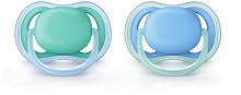 Avent Ultra Air Pacifier 6-18m BPA Free, 2-Pack Blue-Green